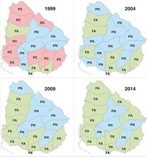 Fuente: Corte Electoral *Partido que obtuvo más votos en las últimas cuatro elecciones nacionales.